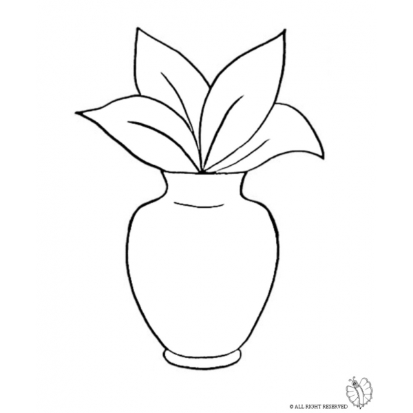 Disegno di Vaso con Pianta da colorare