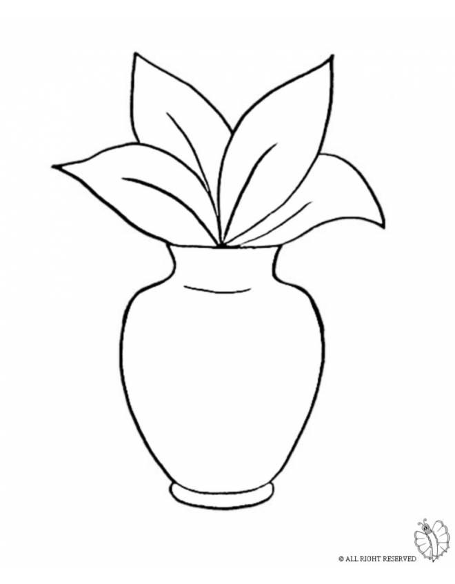 disegno di vaso con pianta da colorare per bambini