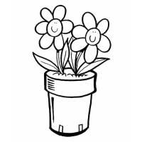 Disegno di Vaso di Fiori da colorare
