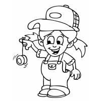 Disegno di Bambina con Yo Yo da colorare
