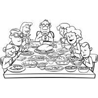Disegno di Famiglia a Cena da colorare