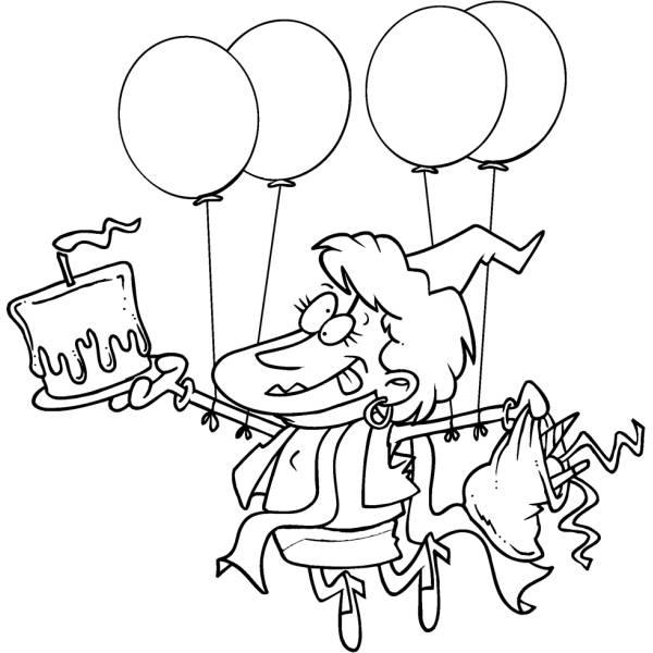 Disegno di Festa con Palloncini e Torta da colorare