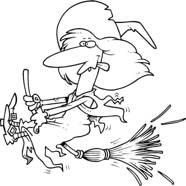Disegno di la strega sulla scopa da colorare per bambini for Immagini della befana da stampare e colorare