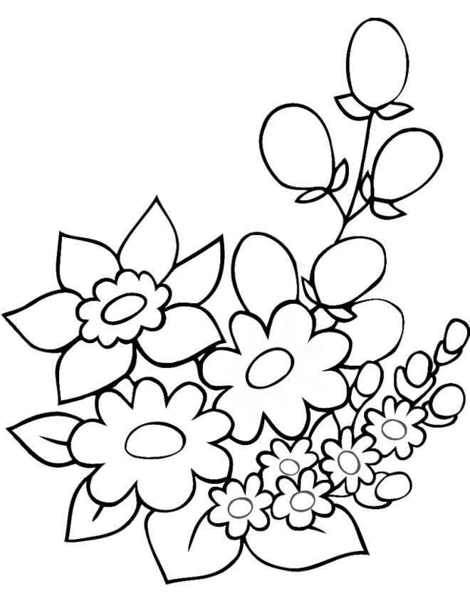 Stampa Disegno Di Fiori Di Primavera Da Colorare