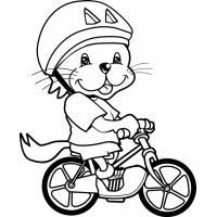 disegno di Leoncino in Bici da colorare