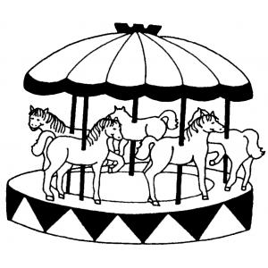 Disegno di giostra con cavalli da colorare per bambini for Immagini di cavalli da colorare