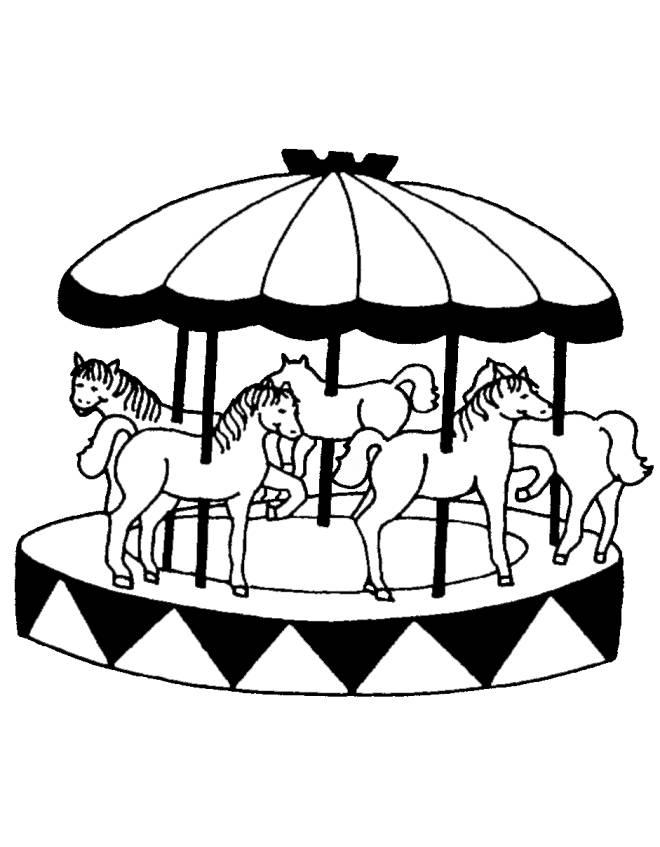 disegno di Giostra con Cavalli da colorare