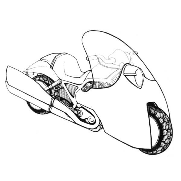 Disegno di Moto da Corsa da colorare