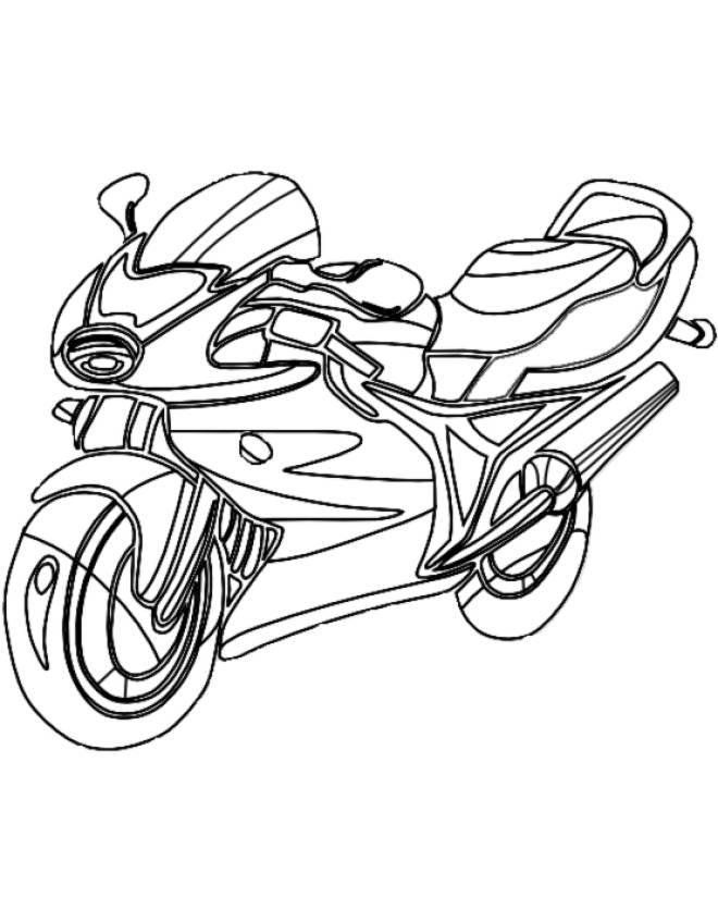 Disegno Di Motocicletta Da Corsa Da Colorare Per Bambini