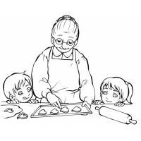 Disegno di La Nonna con i Nipotini da colorare