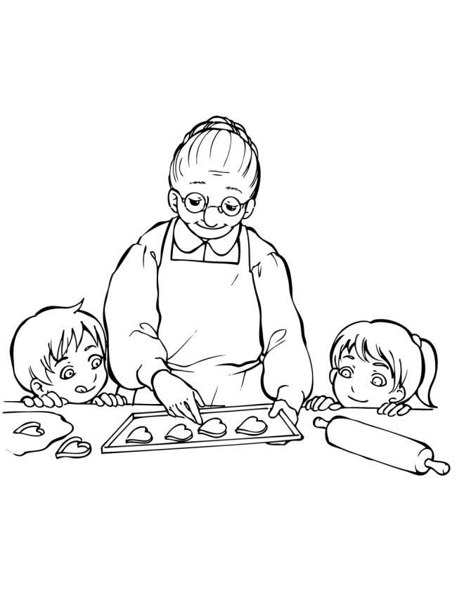 Disegno di la nonna con i nipotini da colorare per bambini for Disegni da colorare cucina