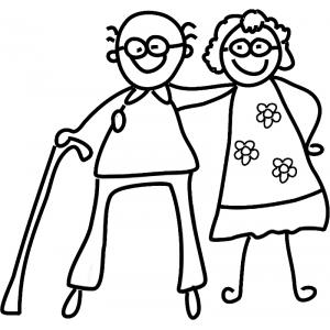 Disegno di Nonni da colorare