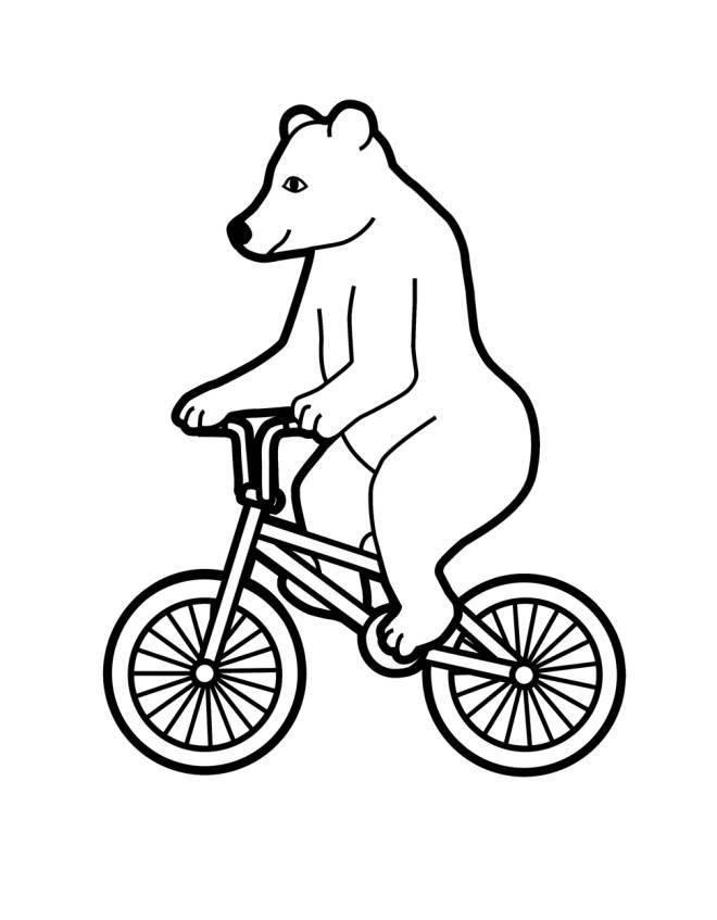 Disegno di l 39 orso in bicicletta da colorare per bambini for Disegno orso per bambini