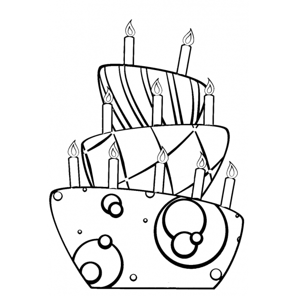 Disegno di torta di compleanno da colorare per bambini for Disegni di 2 piani