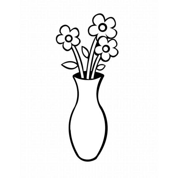 Disegno Di Vaso Con Fiori Da Colorare Per Bambini