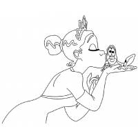 disegno di La Principessa e il Ranocchio da colorare