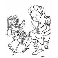 disegno di Alice con il Re e la Regina da colorare