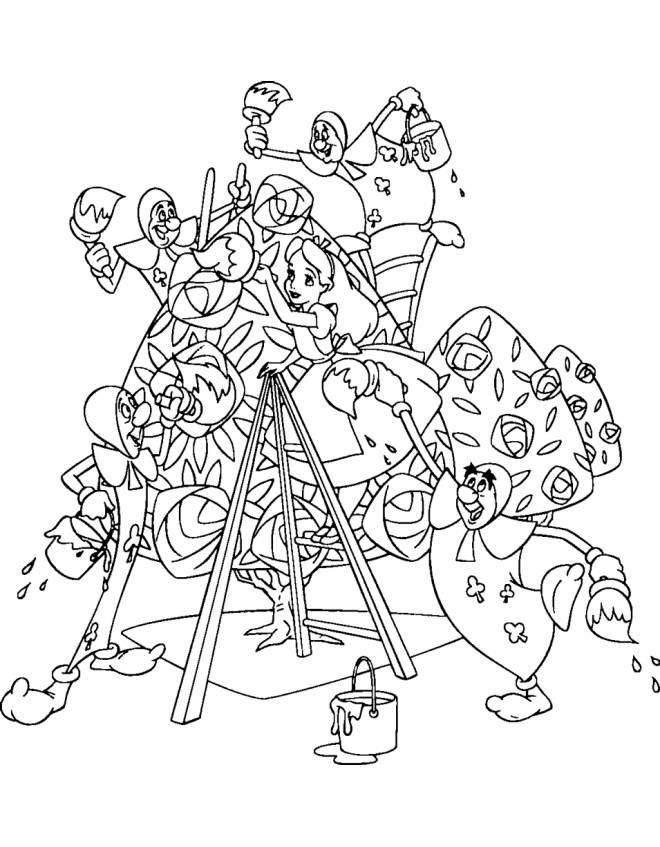 Fabuleux Stampa disegno di Alice e le Carte da Gioco da colorare QI21