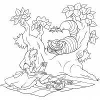 Disegno di Alice e lo Stregatto da colorare