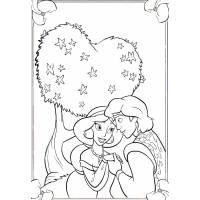 Disegno di Alladin e Jasmine  da colorare