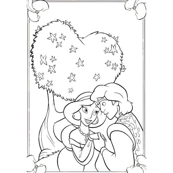 Disegno Di Alladin E Jasmine Da Colorare Per Bambini