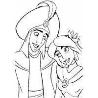 disegno di Principe Alladin e Principessa Jasmine da colorare