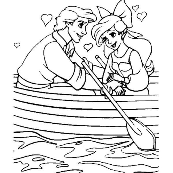 Disegno di ariel e eric innamorati da colorare per bambini for La sirenetta da stampare
