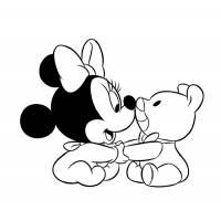 Disegno di Baby Minnie con Orsacchiotto da colorare