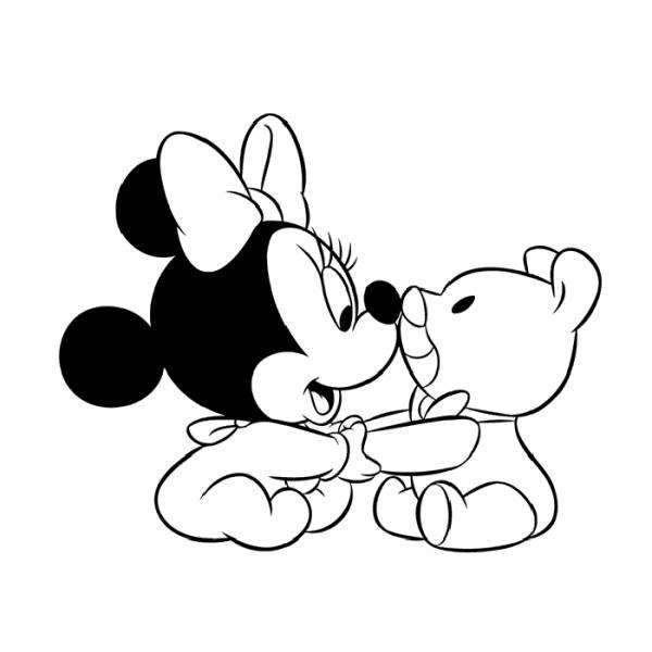 Disegno Di Baby Minnie Con Orsacchiotto Da Colorare Per Bambini
