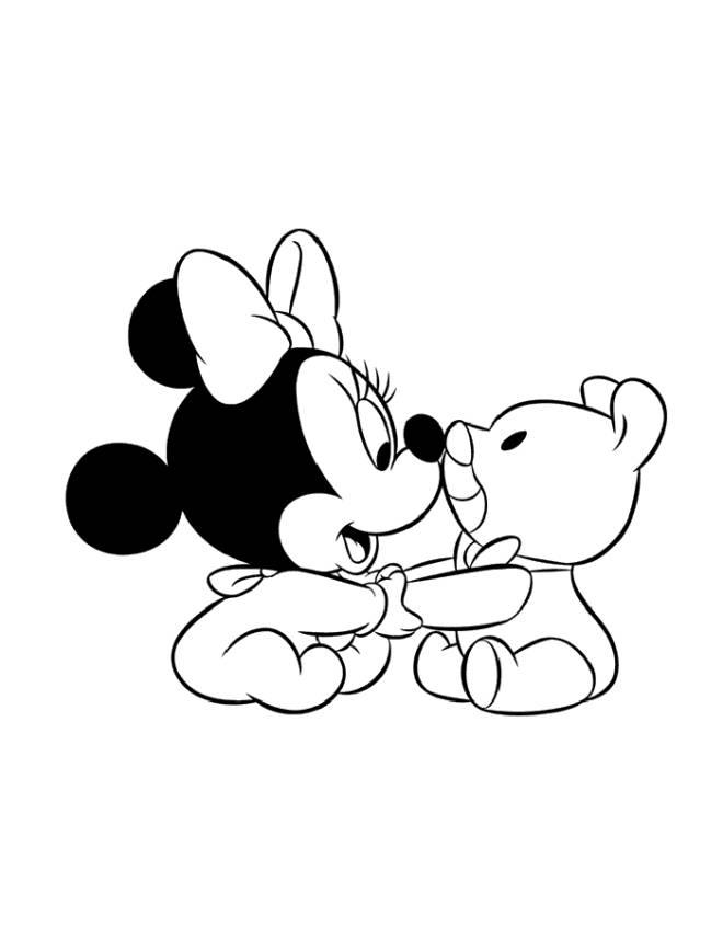 Stampa disegno di baby minnie con orsacchiotto da colorare for Immagini da colorare di minnie