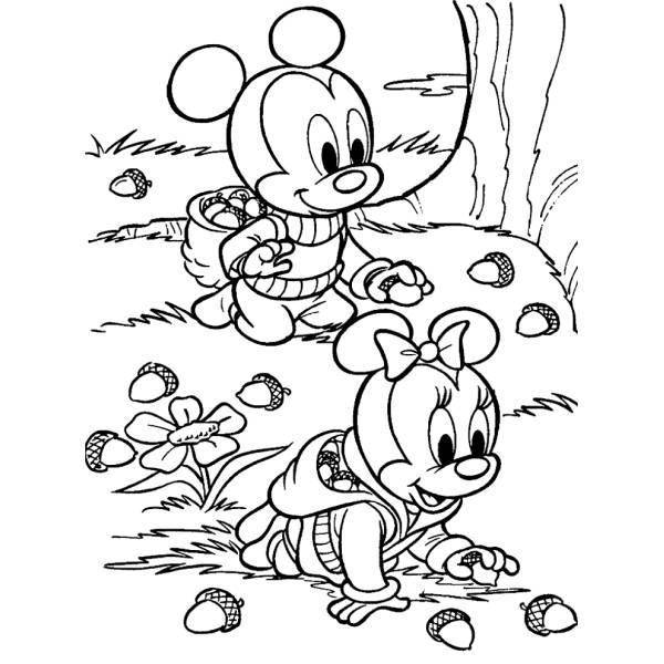 Disegno di baby minnie e topolino da colorare per bambini for Disegni di minnie da colorare