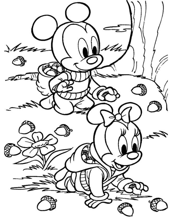 online fall coloring pages - disegno di baby minnie e topolino da colorare per bambini