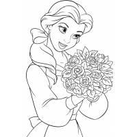 Disegno di Belle con Fiori da colorare