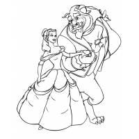 Disegno di La Bella e la Bestia Ballo da colorare