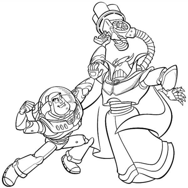 Disegno di Buzz e l' Imperatore Zurg da colorare