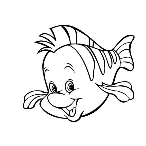 Disegno di pesce flounder della sirenetta da colorare per