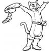 Disegno di Gatto con Stivali e Cappello da colorare