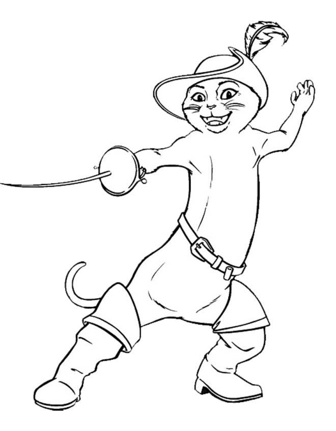 Disegno Di Il Gatto Con Gli Stivali Da Colorare Per Bambini