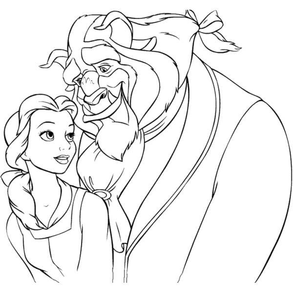 Disegno di la bella e la bestia da colorare per bambini for Disegni la bella e la bestia