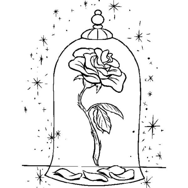 Disegno Di La Rosa Della Bella E La Bestia Da Colorare Per Bambini