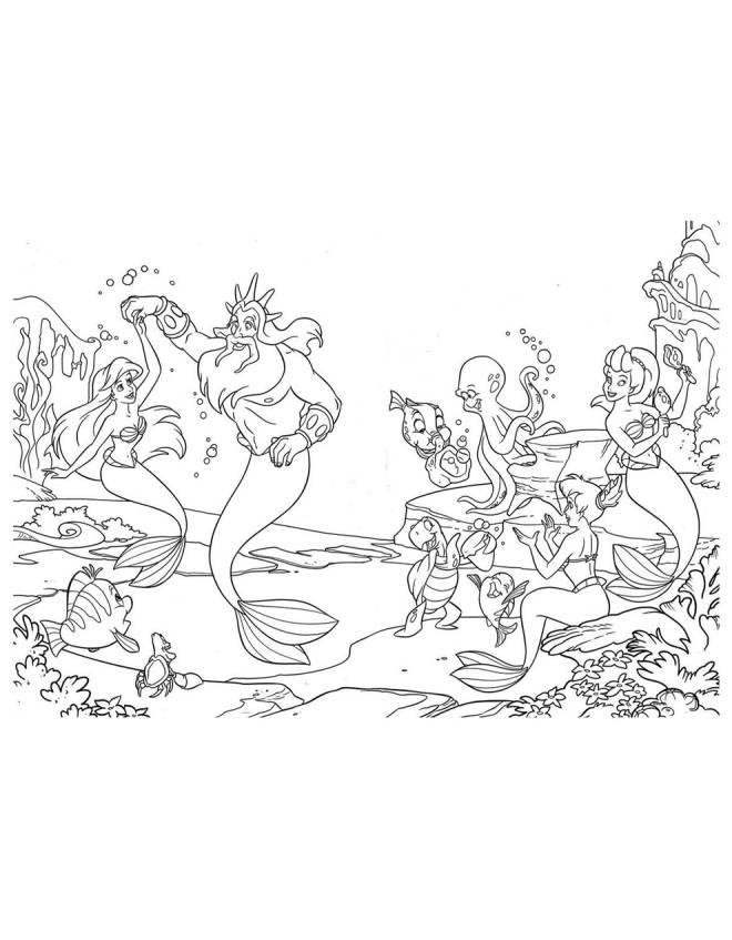 disegno di La Sirenetta Disney da colorare