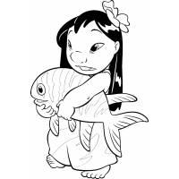 Disegno di Lilo ed il Pesce da colorare