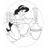 Disegno di Principessa Jasmine Aladdin da colorare