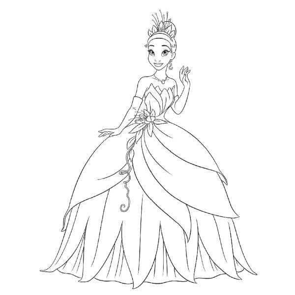Disegno Di La Principessa Tiana Da Colorare Per Bambini