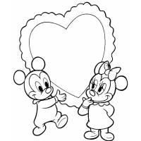 Disegno di Topolino e Minnie Baby Cuore da colorare