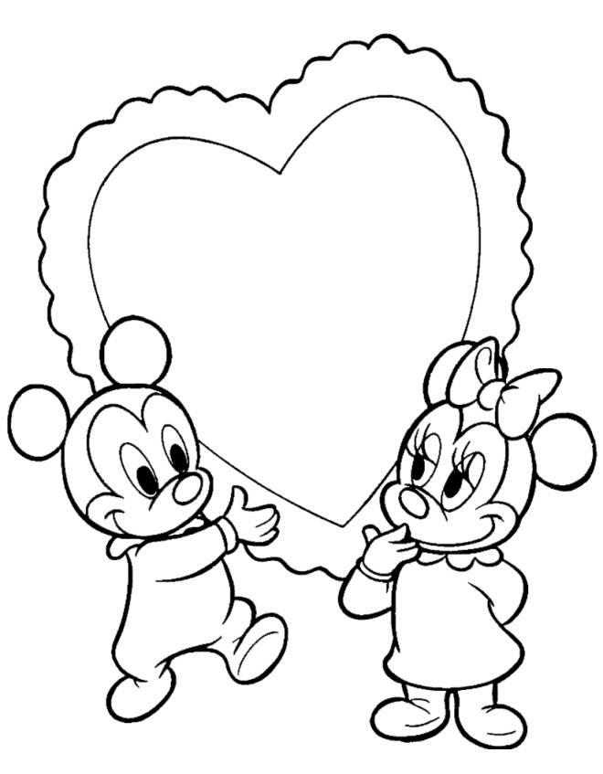Disegno di topolino e minnie baby cuore da colorare per for Minnie da colorare per bambini