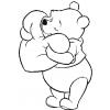 Disegno di Winnie Pooh con il Cuore da colorare