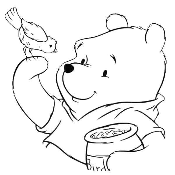 Disegno Di Winnie Pooh E L Uccellino Da Colorare Per Bambini