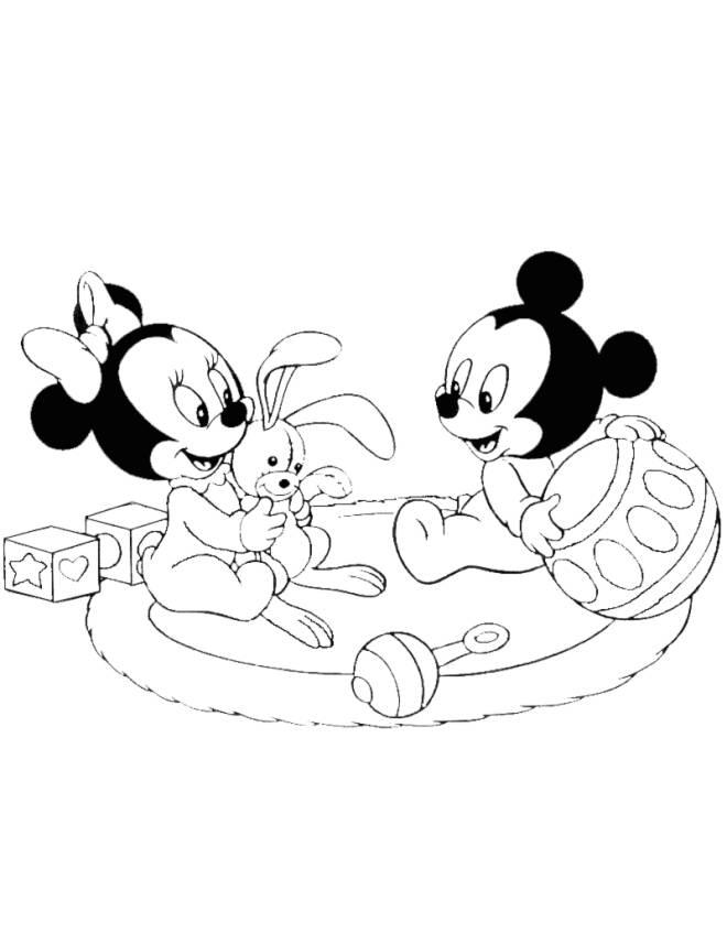 Disegno di minnie e topolino baby da colorare per bambini