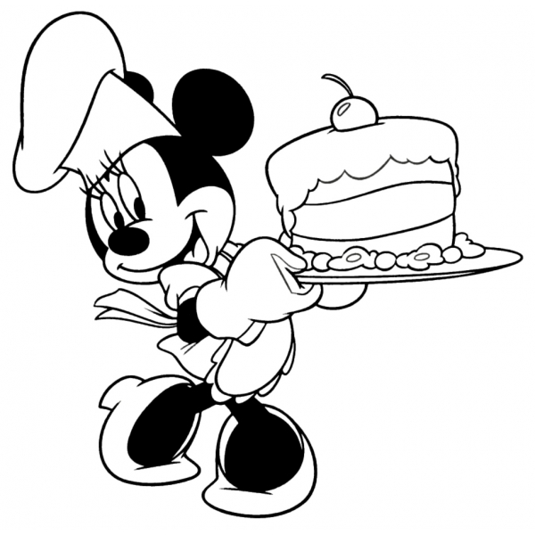 Disegno di minnie con torta da colorare per bambini for Disegni di minnie da colorare